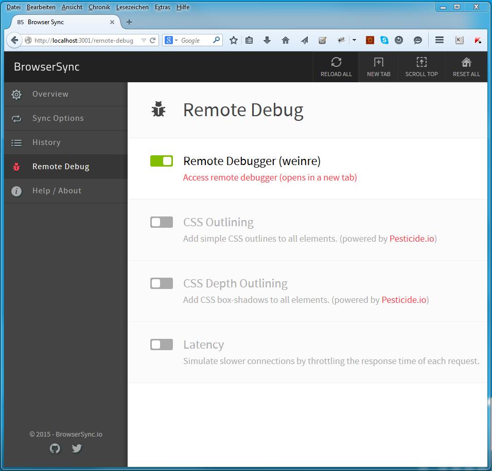 BrowserSync Weinre Mobile Testing