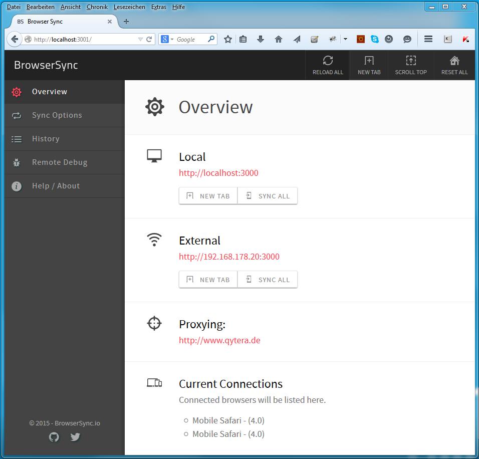 BrowserSync Mobile Testing