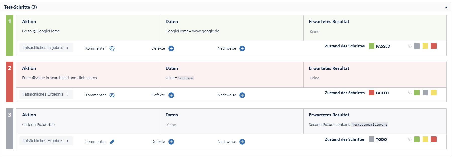 Ausführungsdetails der Testschritte in Xray