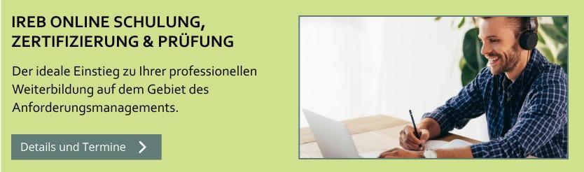 IREB Online Schulung, Seminar, Zertifizierung und Prüfung.
