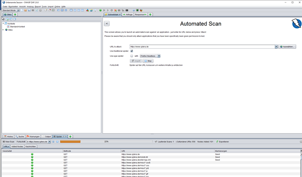 Automated Scan mit OWASP ZAP