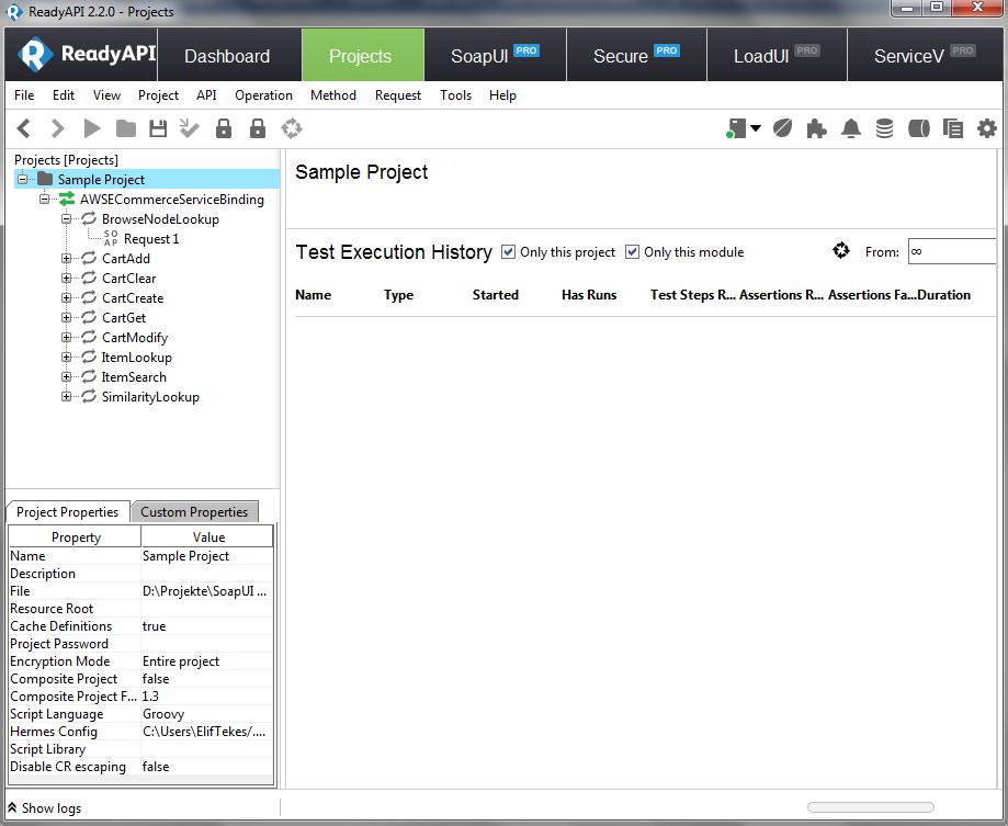 Dasselbe Beispielprojekt in der Pro-Version von SoapUI.