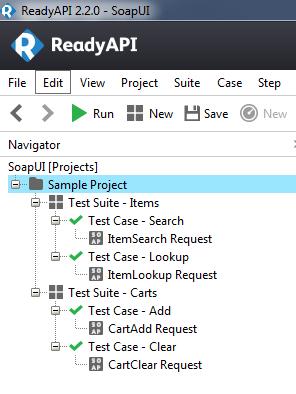 Beispielstruktur in SoapUI mit zwei Test Suites und jeweils zwei Test Cases.