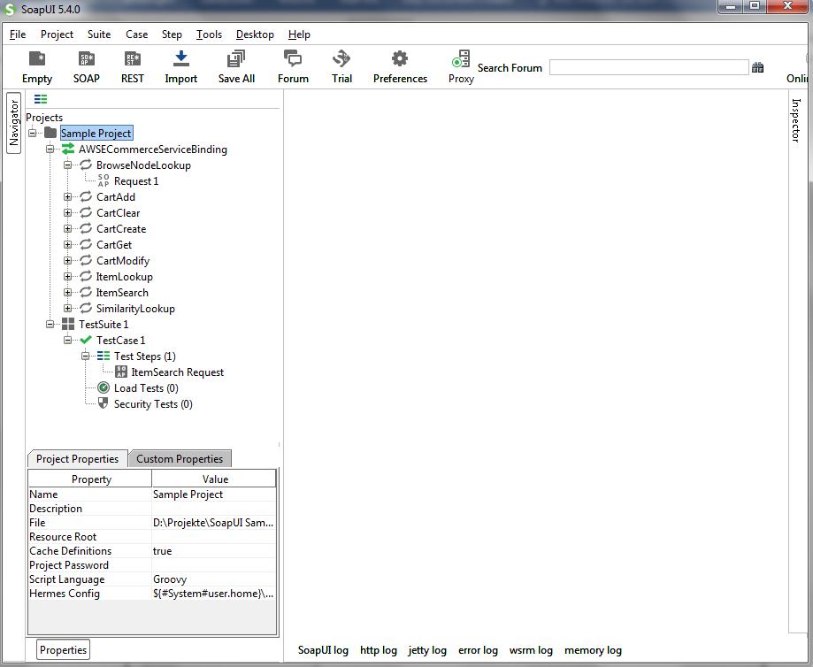 Beispielprojekt in der Basisversion von SoapUI