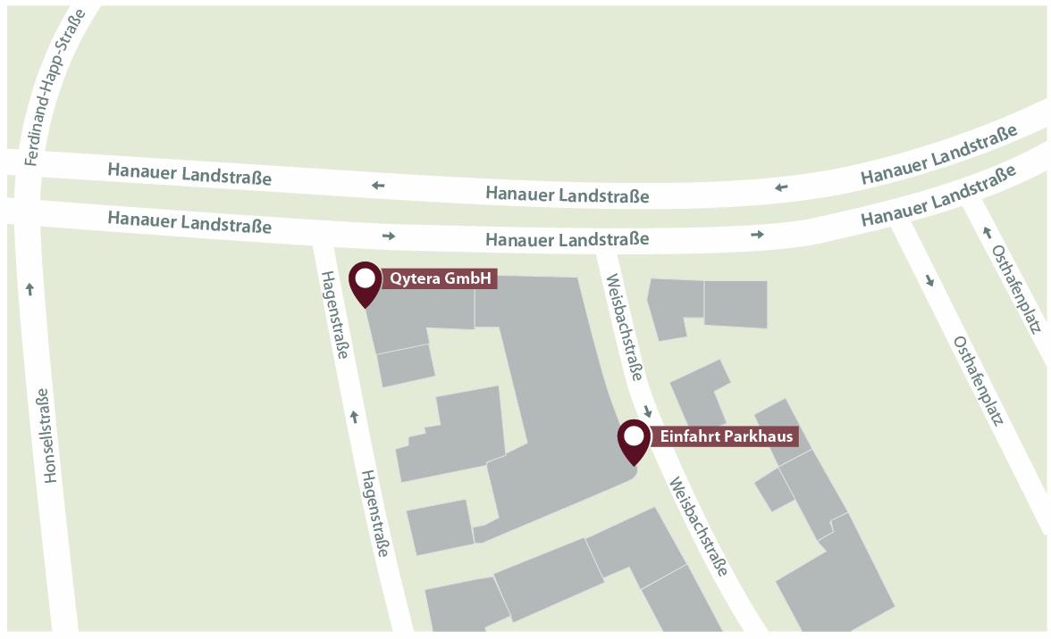Anfahrtskizze zu Qytera in Frankfurt