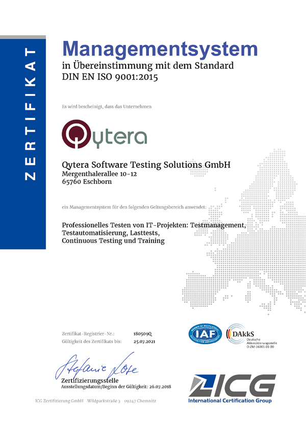 ISO 9001:2015 - Zertifizierungen