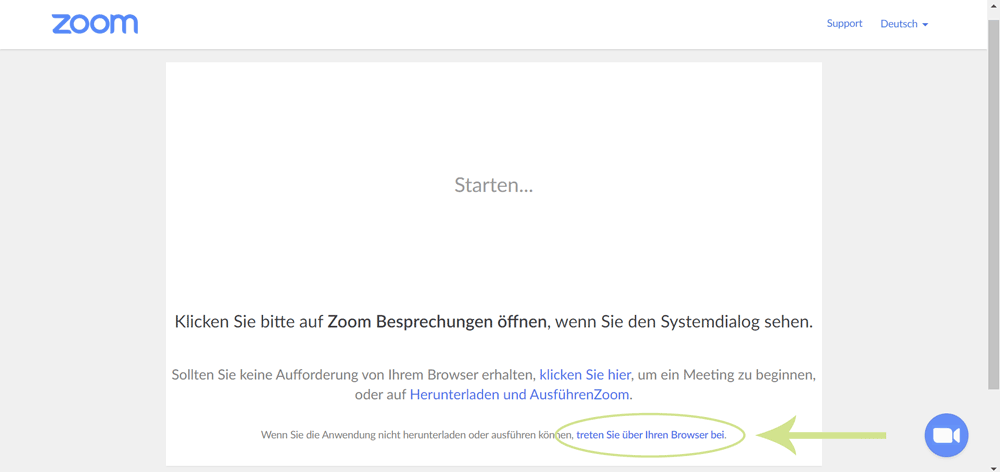 Schritt 3.2: Zoom Meeting über den Browser beitreten