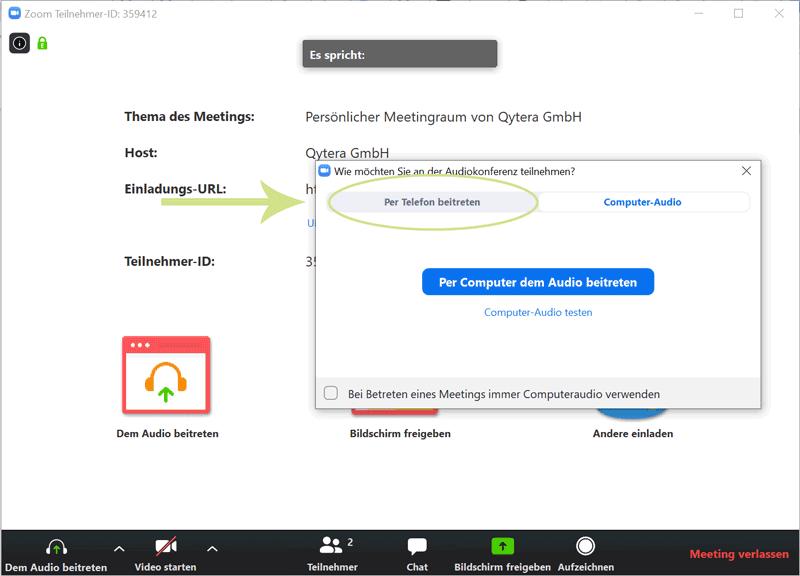 Schritt 6: Per Telefon am Zoom Meeting teilnehmen